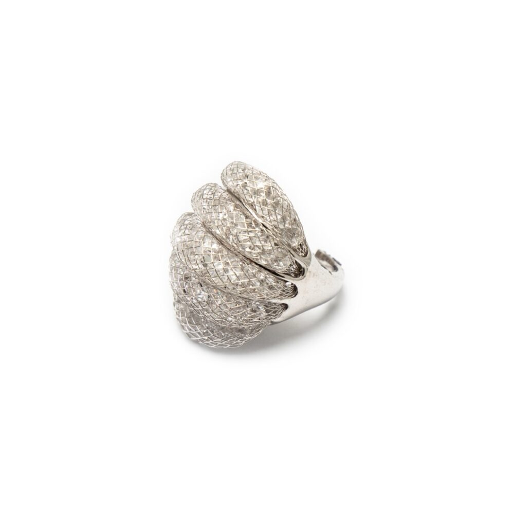 BRASS SILVER PLATED FANCY RING WITH ZIRCONES
