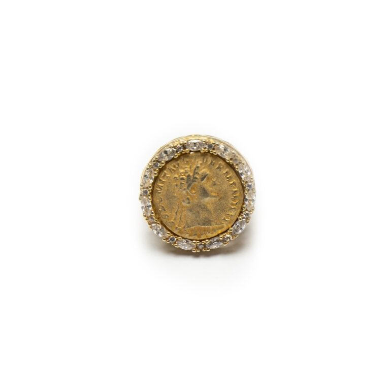 SILVER 925 YELLOW GOLD PLATED COIN RING