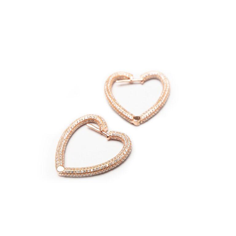 ROSE GOLD PLATED HEART EARRINGS