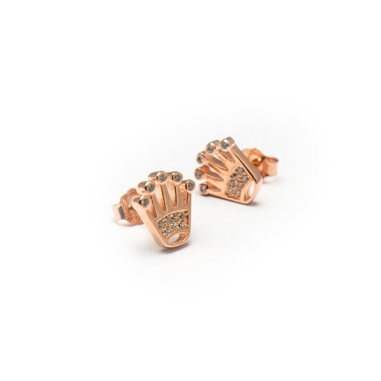 ROSE GOLD PLATED CROWN EARRINGS