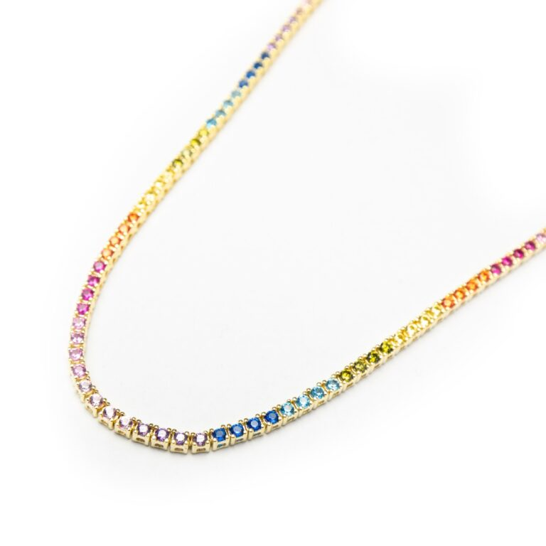 GOLD PLATED TENNIS RAINBOW NECKLACE