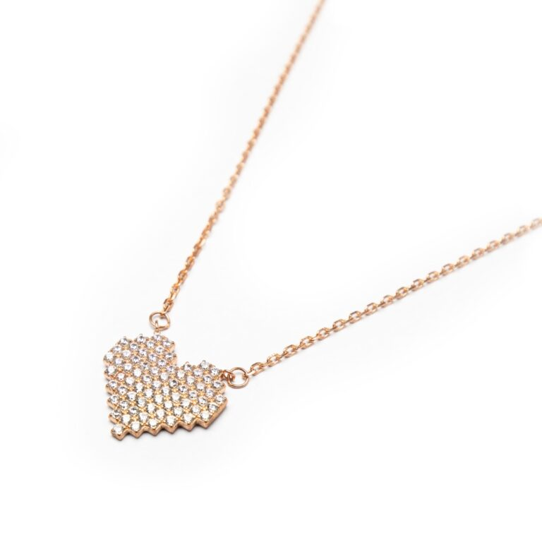 ROSE GOLD PLATED HEART NECKLACE WITH