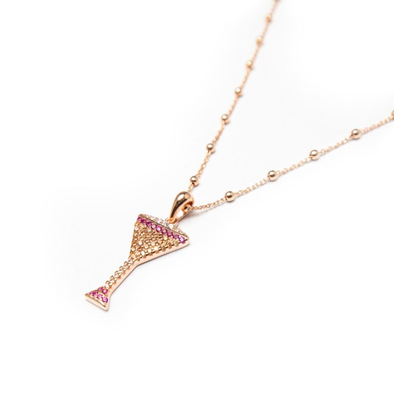 ROSE GOLD PLATED MARTINI GLASS PENDANT