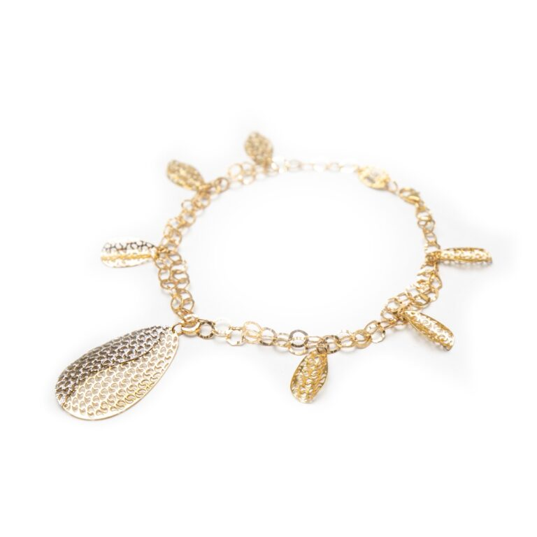 18KT WHITE AND YELLOW GOLD LEAF DESIGNED BRACELET