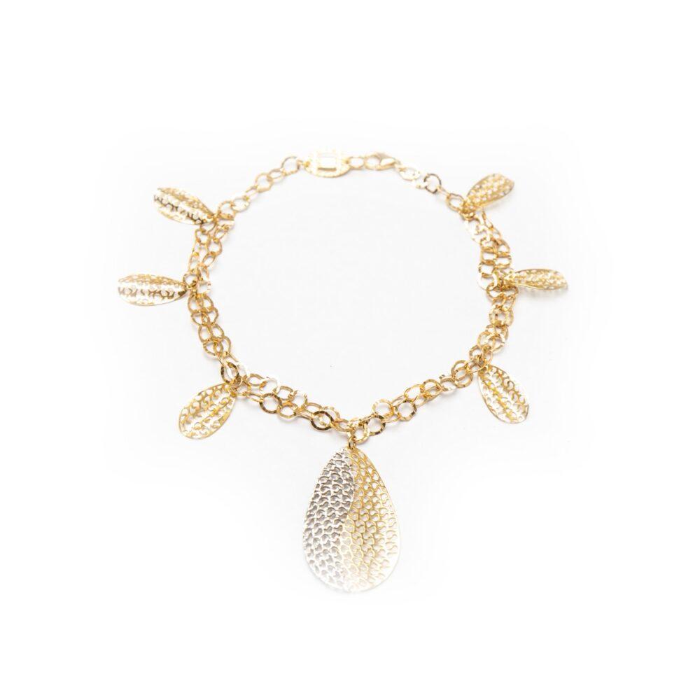 18kt White And Yellow Gold Leaf Designed Bracelet