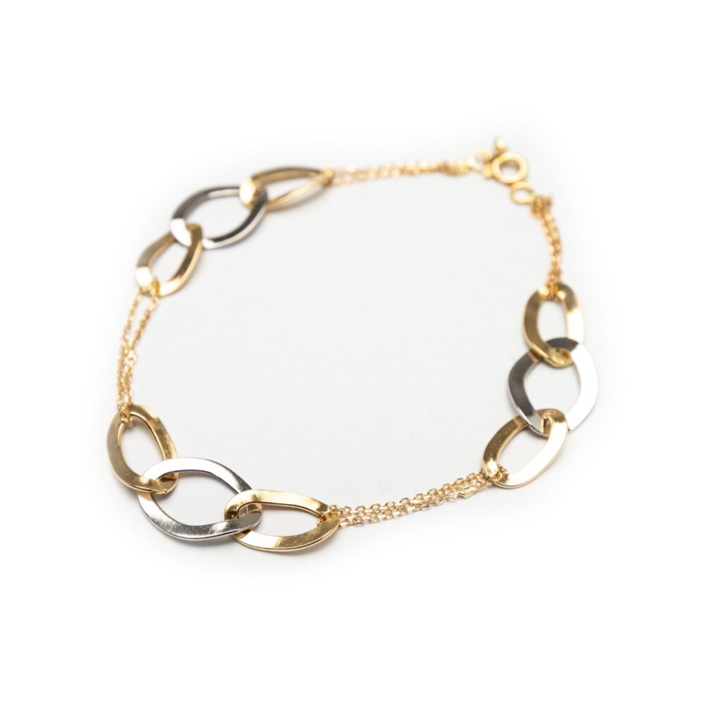 18KT YELLOW AND WHITE GOLD DESIGNED BRACELET