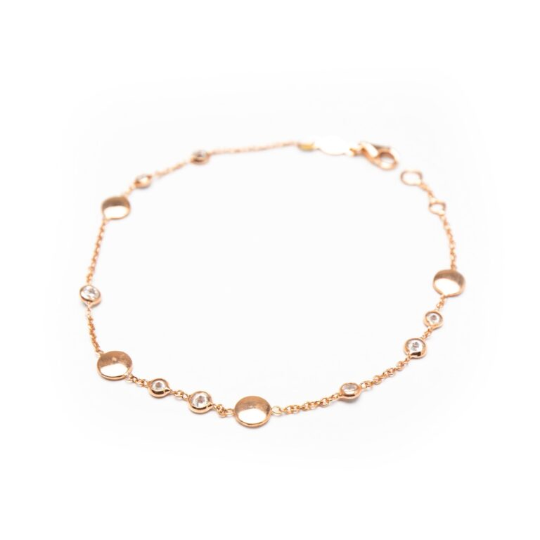 18KT ROSE GOLD PLATED DESIGNED BRACELET WITH ZIRCONES