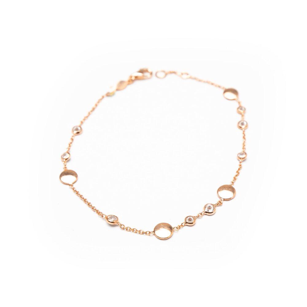 18kt Rose Gold Plated Designed Bracelet With Zircones