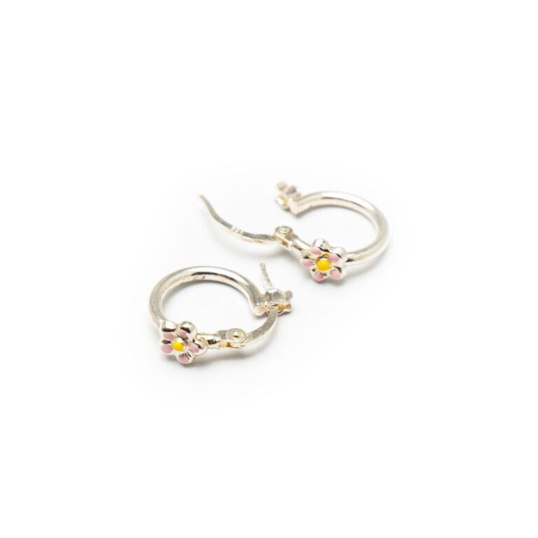 SILVER 925 HOOP EARRINGS WITH FLOWER DESIGN