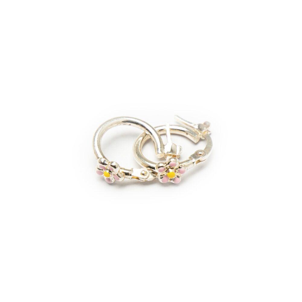 Silver 925 Hoop Earrings With Flower Design