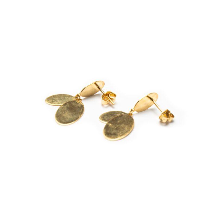 18KT YELLOW GOLD LONG DESIGNED EARRINGS