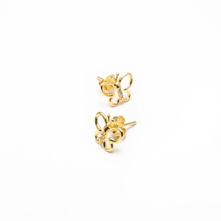 18 KT YELLOW GOLD BUTTERFLY EARRINGS