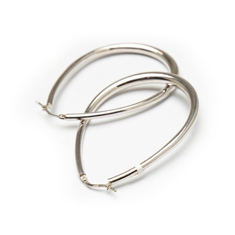 SILVER 925 OVAL HOOP EARRINGS