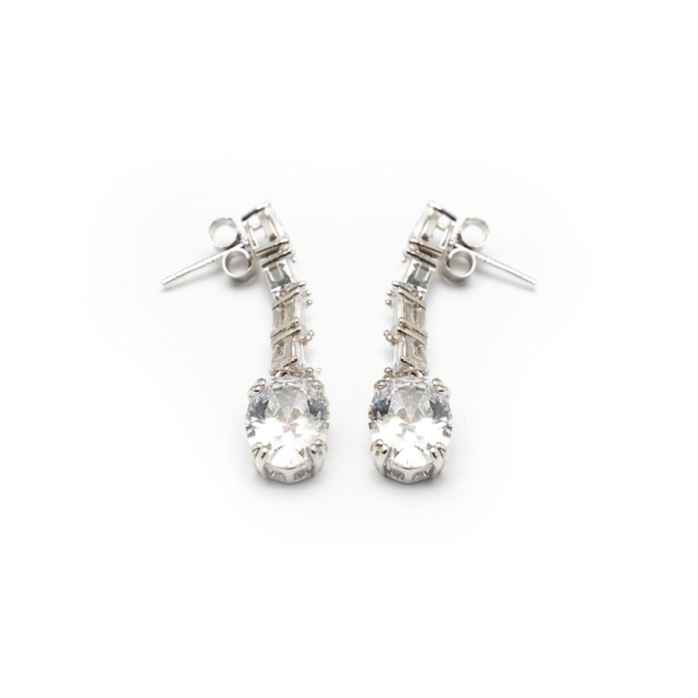 Silver 925 Long Earrings With Zircones