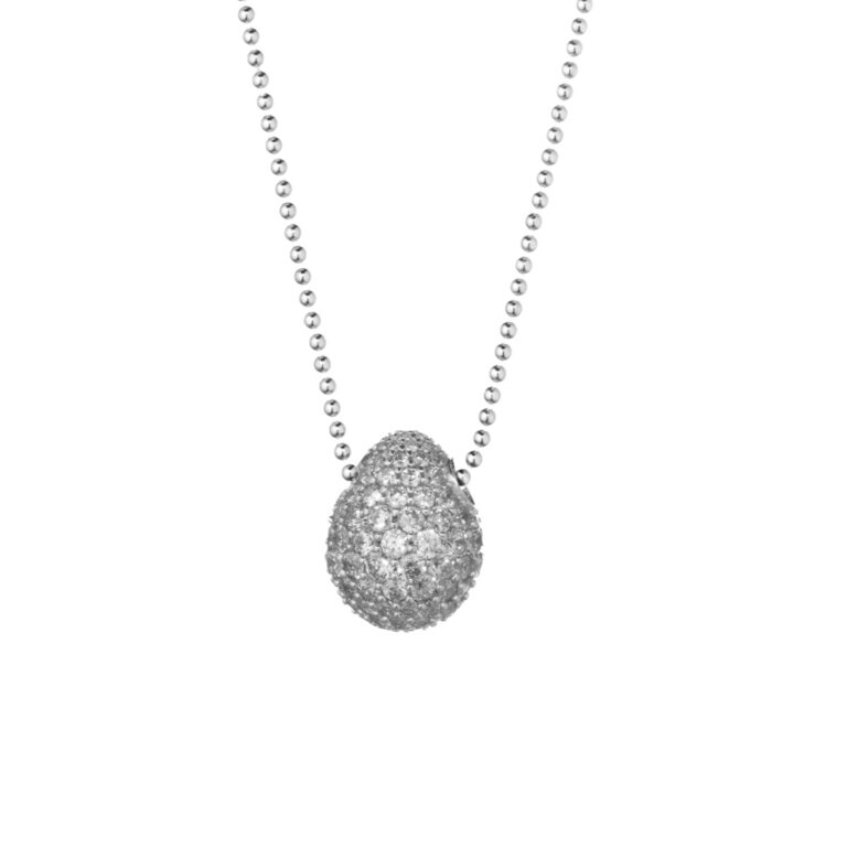 Tatiana Faberge Silver 925 Medium Egg Pendant With Silver Zircons