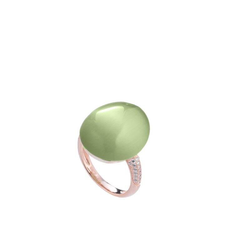 Tatiana Faberge Silver 925 Crystal Cat Eye Ring In Green