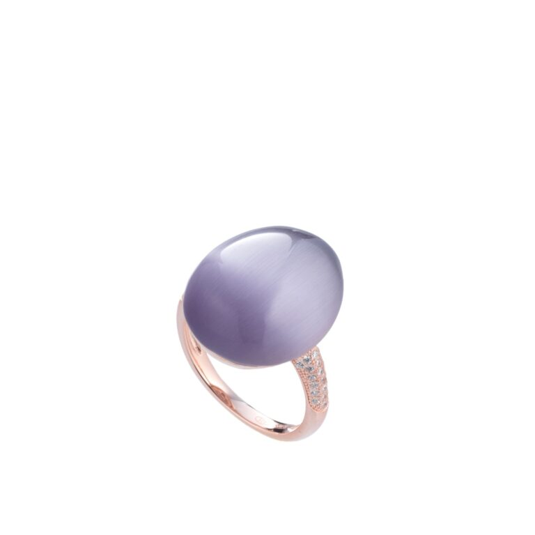 Tatiana Faberge Silver 925 Crystal Cat Eye Ring In Violet