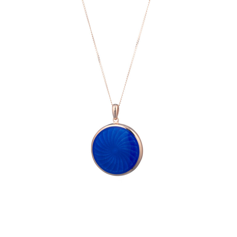 Tatiana Faberge Rose Gold Locket With Blue Enamel