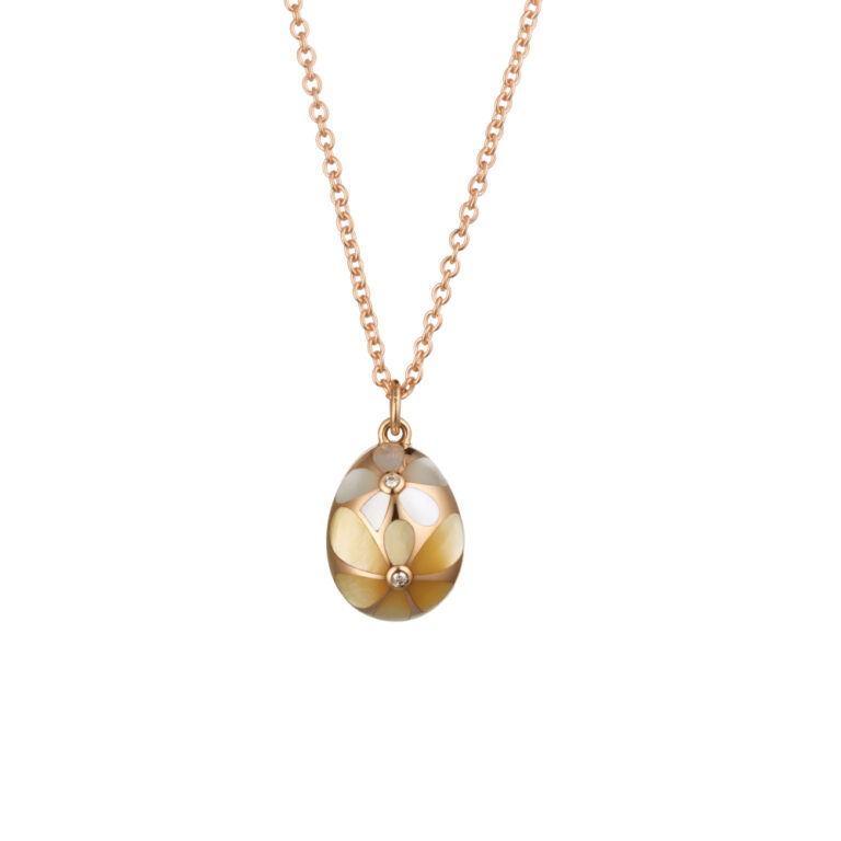Tatiana Faberge 18kt Gold Chain Mother Of Pearl And Diamond Egg Pendant