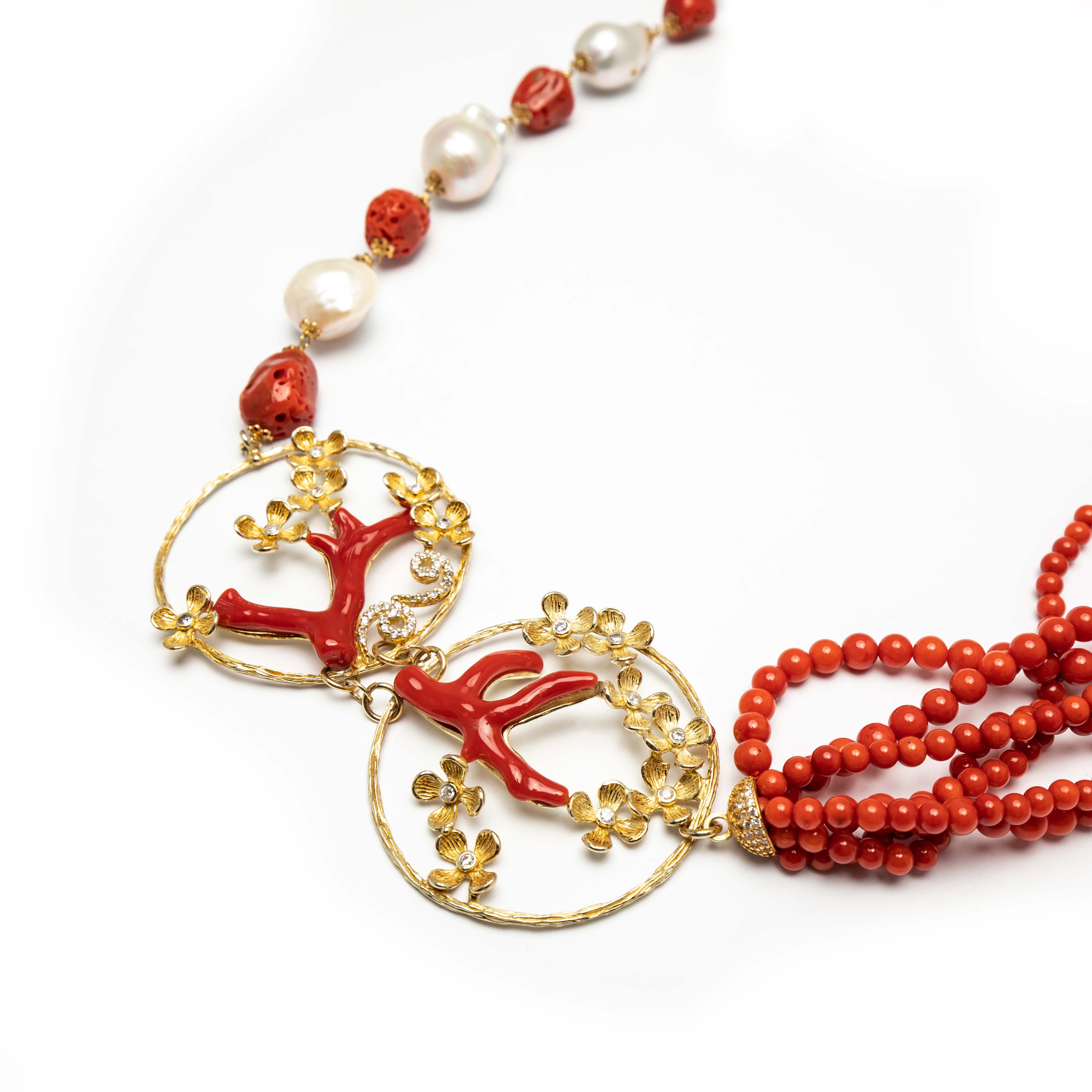 Natural Stone Necklace With Coral And Pearls