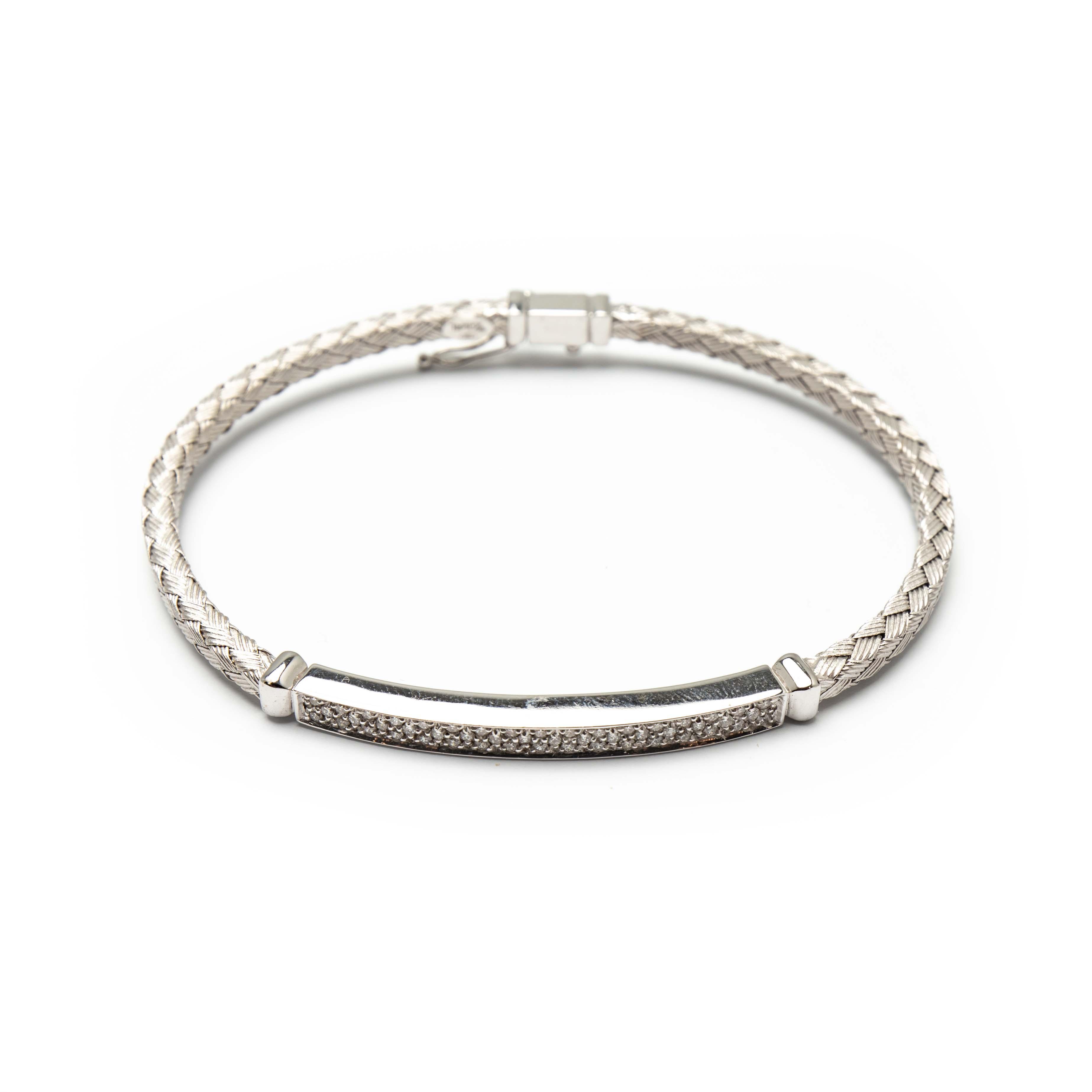Unisex White Gold Diamond Bangle