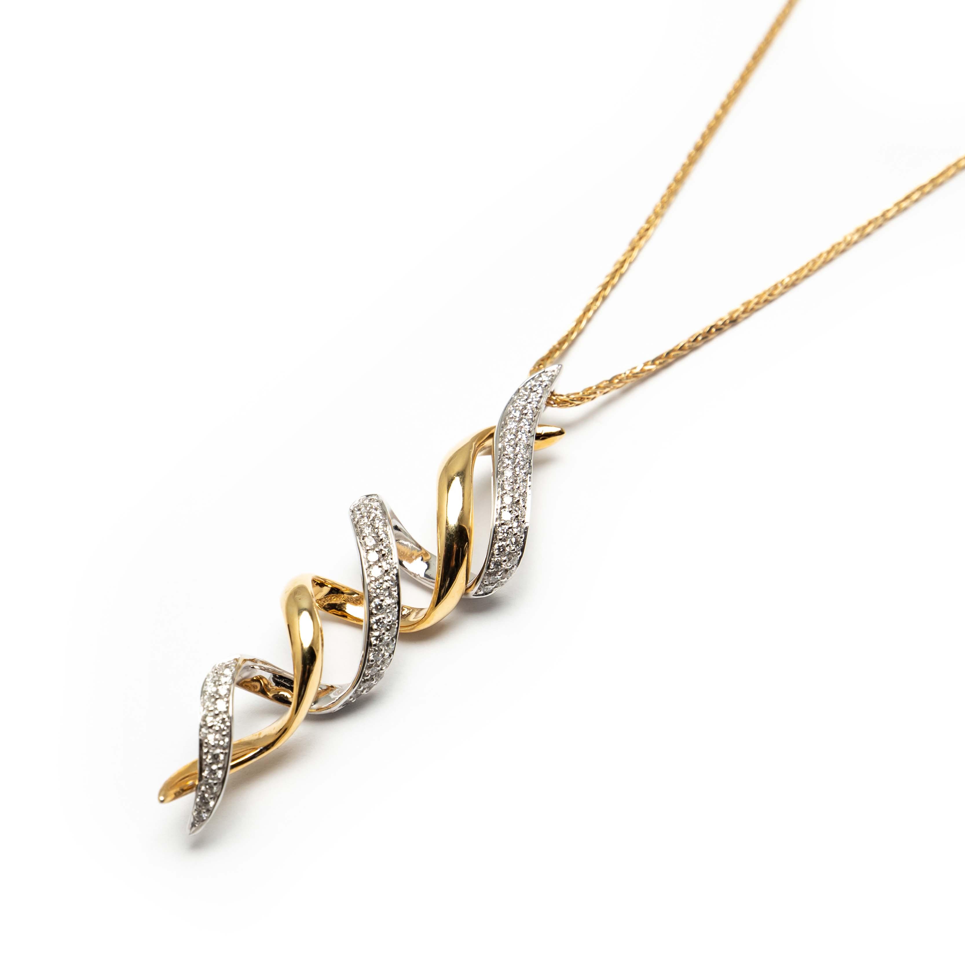 Yellow & White Gold Diamond Pendant