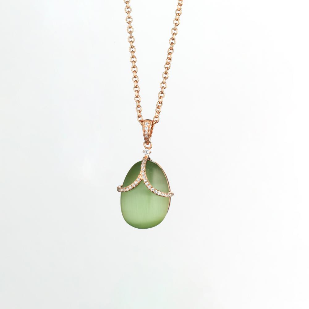Tatiana Faberge Cats Eye Green Pendant