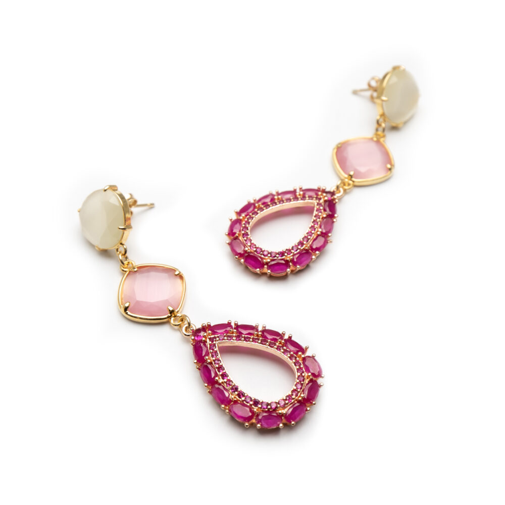 Gold Earrings With Natural Stones