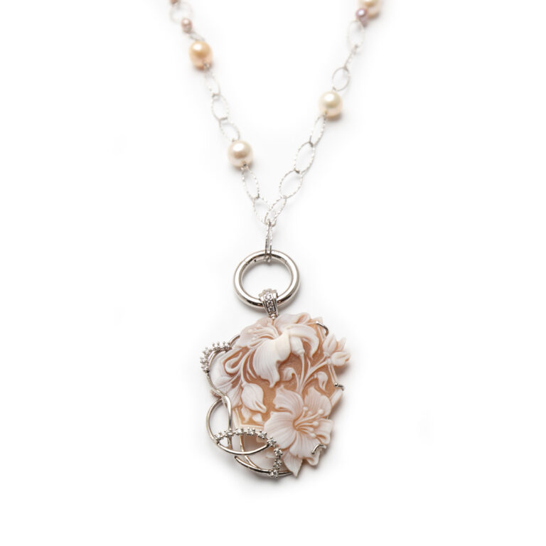 Fresh Water Pearl Cameo Necklace