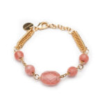 Brass Gold Plated Bracelet With Pink Quarts