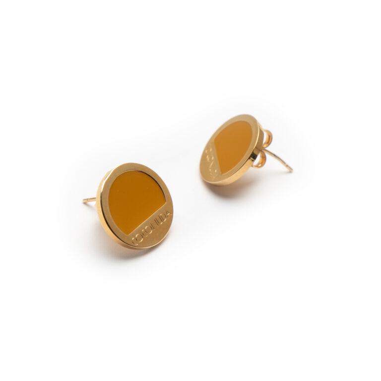 Brass, Gold Plated Enamel Earrings.