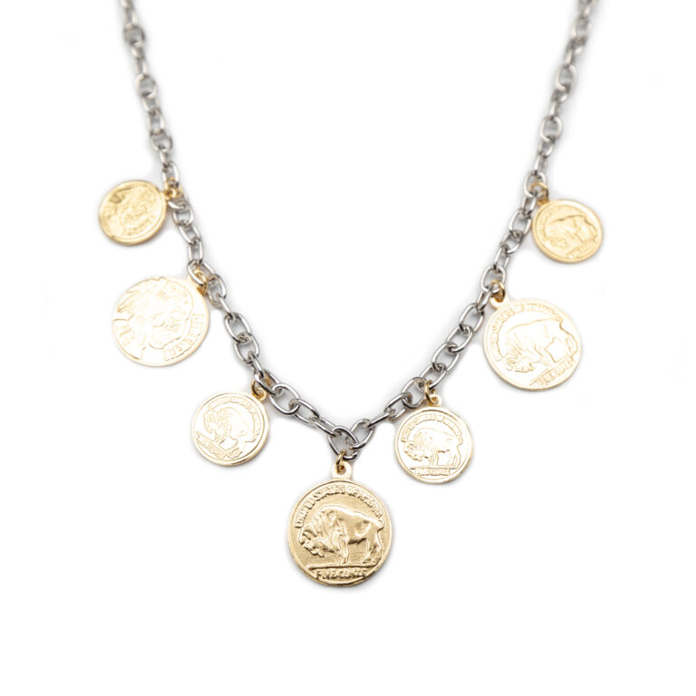 925 Silver Gold Plated Coin Necklace