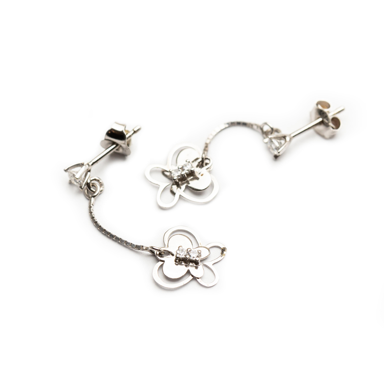 18kt White Gold Butterfly Earrings.