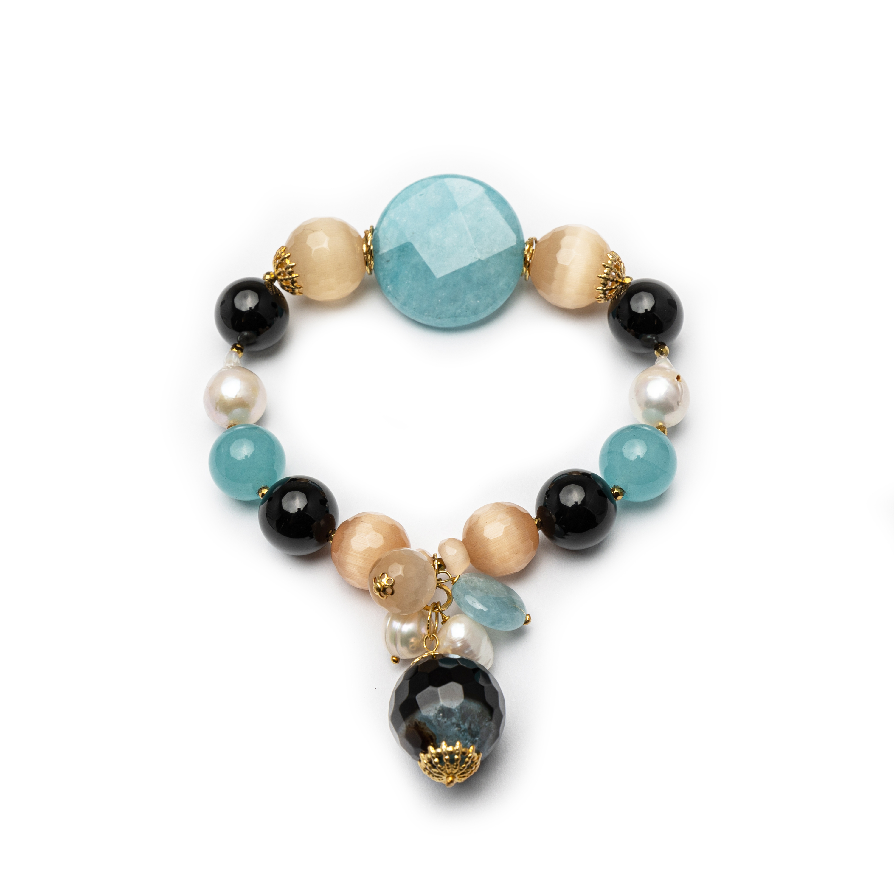 Silver 925 Gold Plated Natural Stone Bracelet.