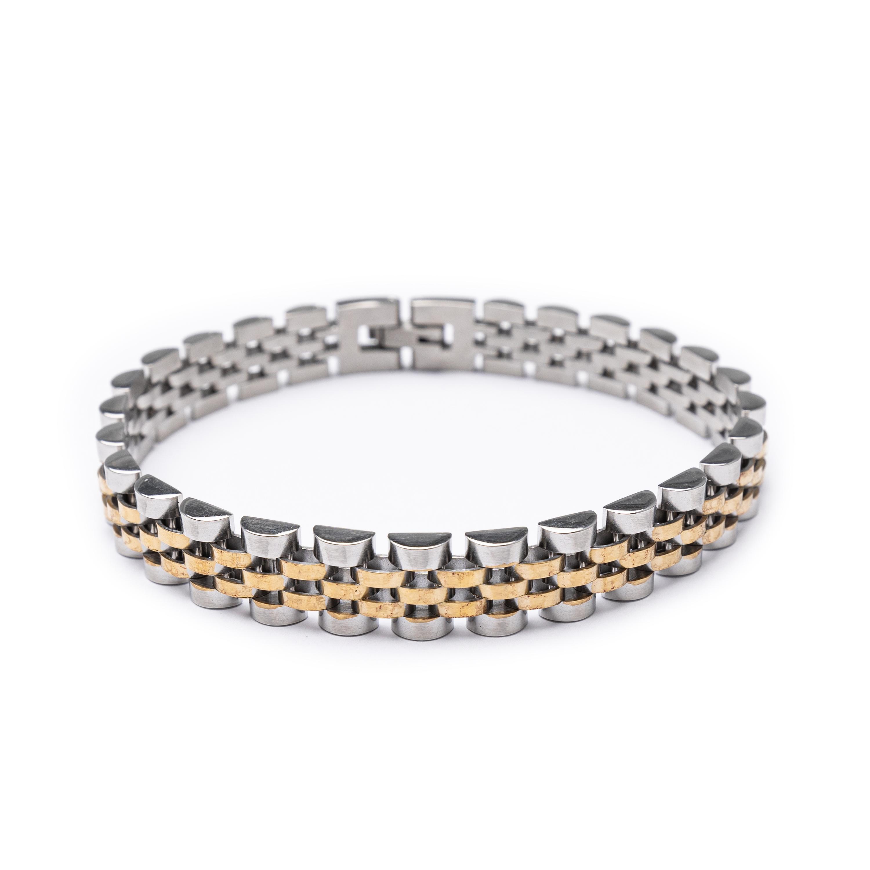 Men's Steel And Gold Plated Rolex Designed Bracelet