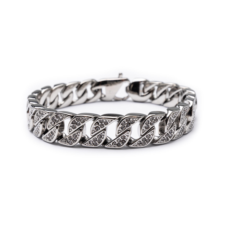 Men's Steel Bracelet With White Zircons