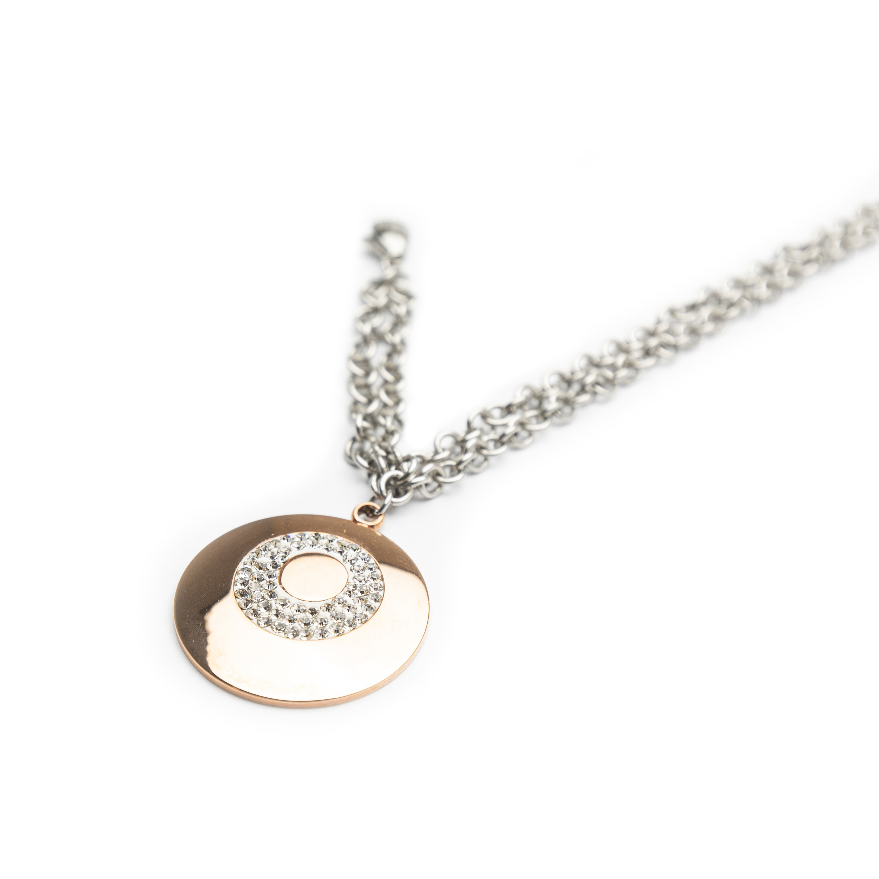 Ladies Steel Bracelet Set With A Rose Gold Plated Charm.