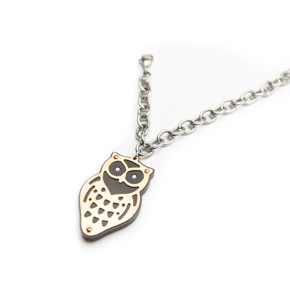 Ladies Steel Bracelet Set With Owl Pendant.