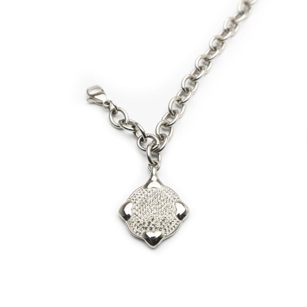 Ladies Steel Bracelet With Crystal Stones.