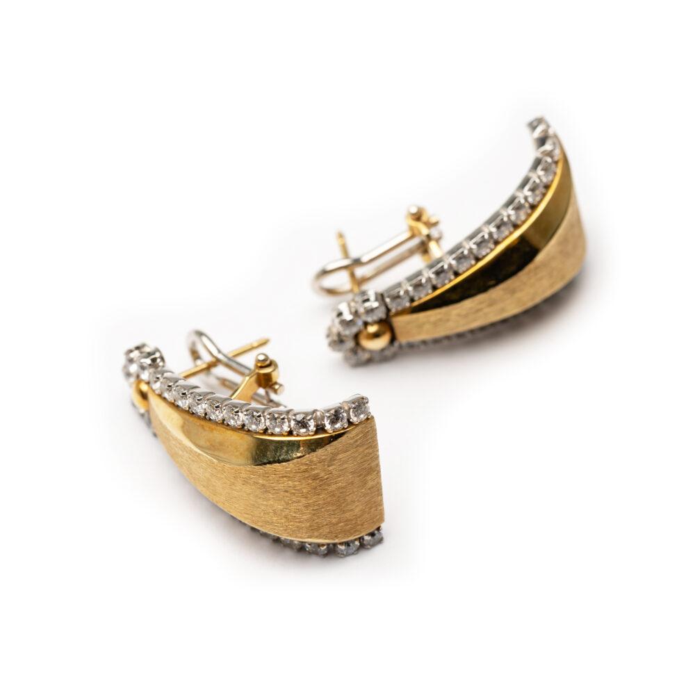 18kt White & Yellow Gold Designed Earrings.