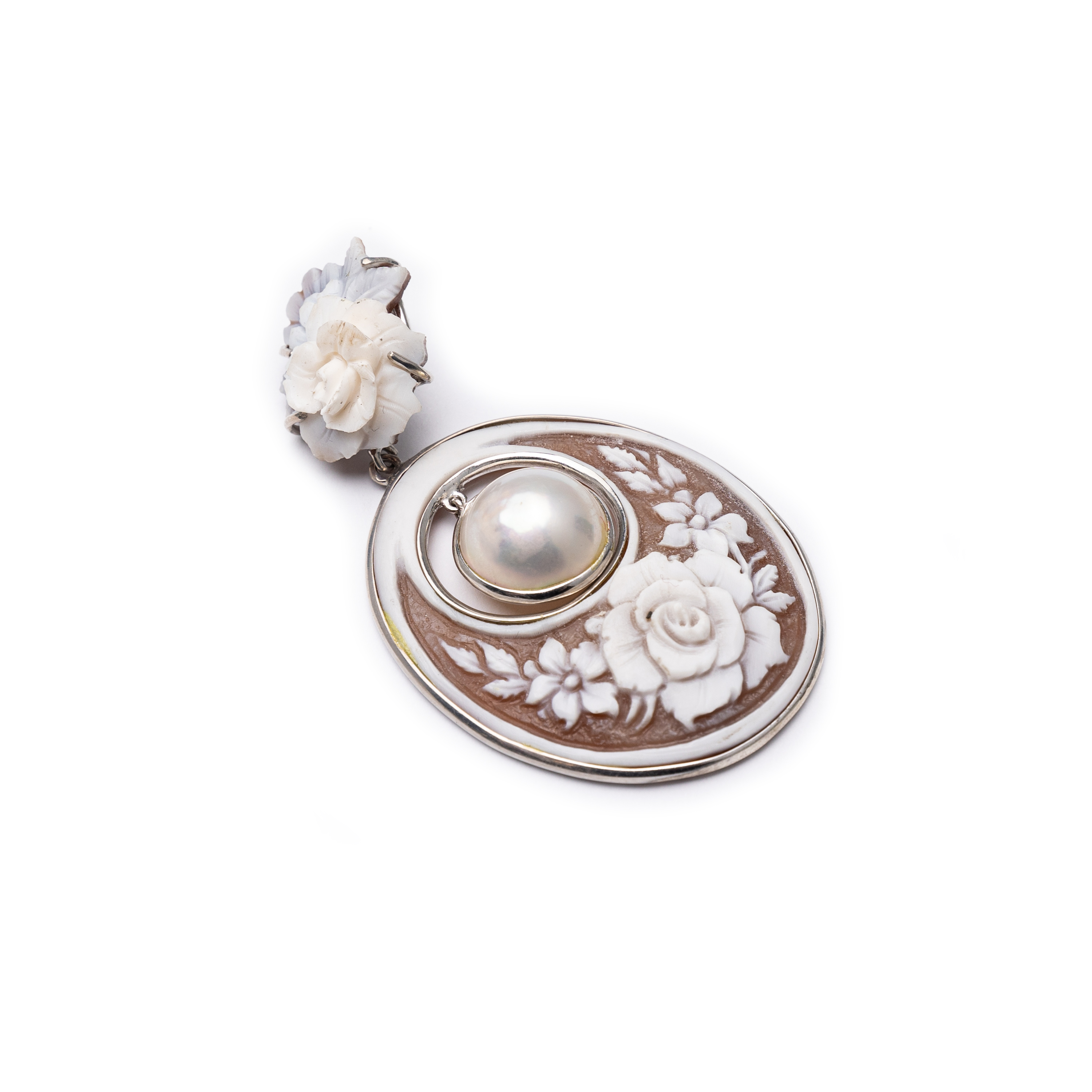 Silver 925 Cameo And Fresh Water Pearl Pendant