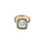 18kt Rose Gold Aqua Marine Designed Ring.