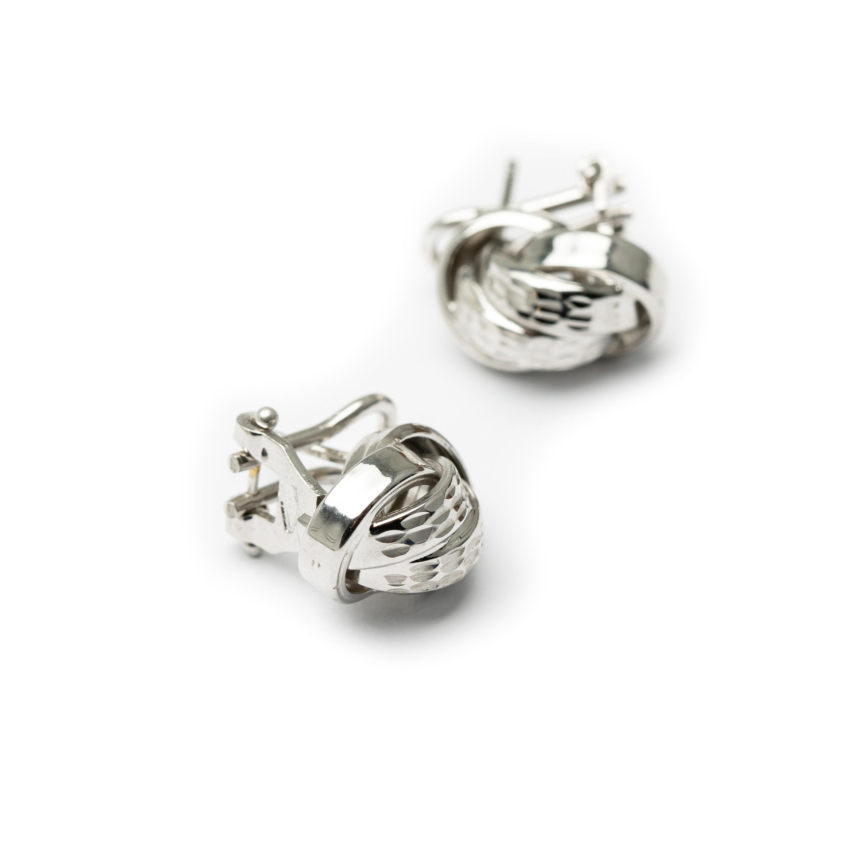 18kt White Gold Designed Knot Earrings.