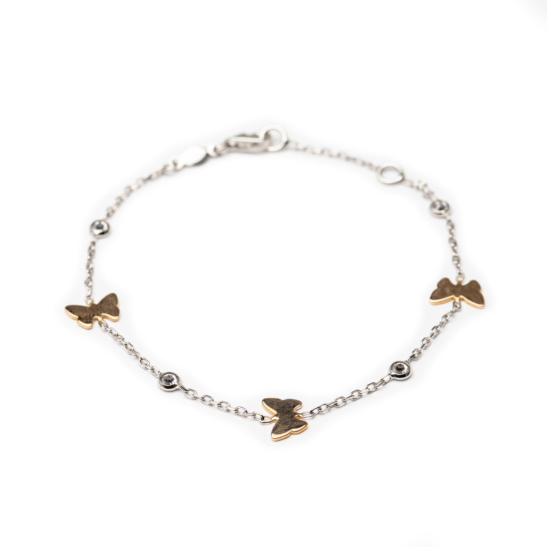 18kt White Gold Designed Butterfly Bracelet.