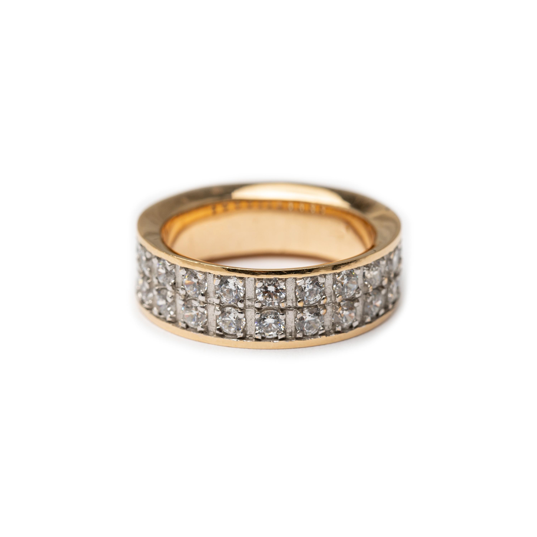 18kt Yellow & White Gold Designed  2 Row Half Eternity Ring.