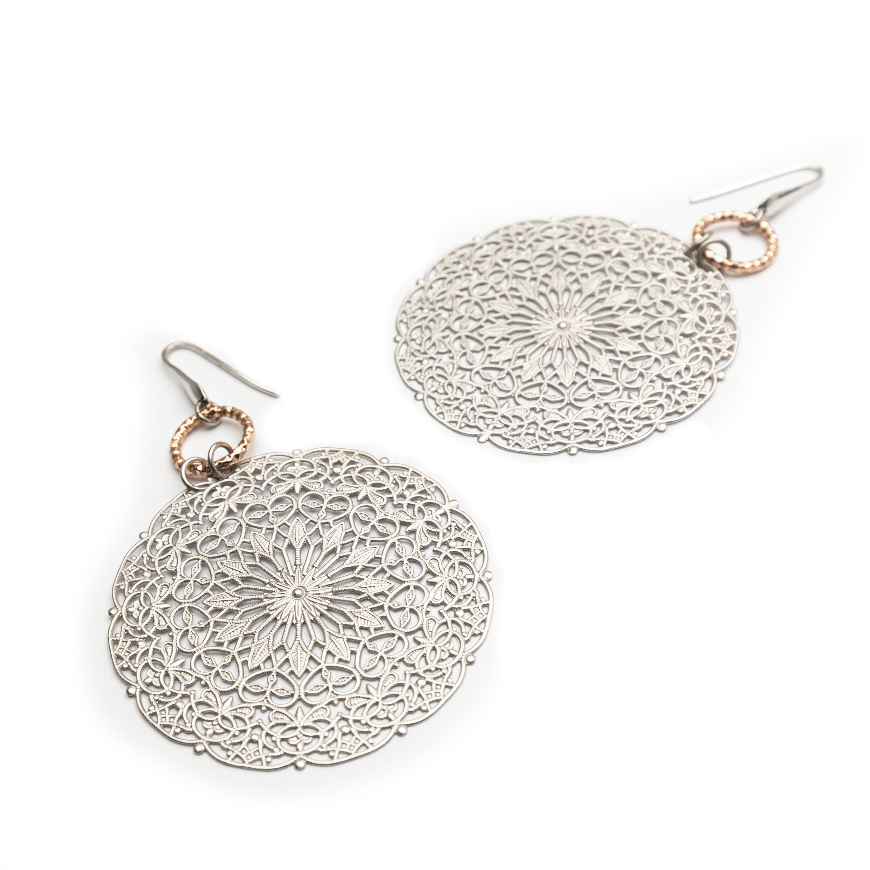 Brass Silver Plated Designed Earrings.
