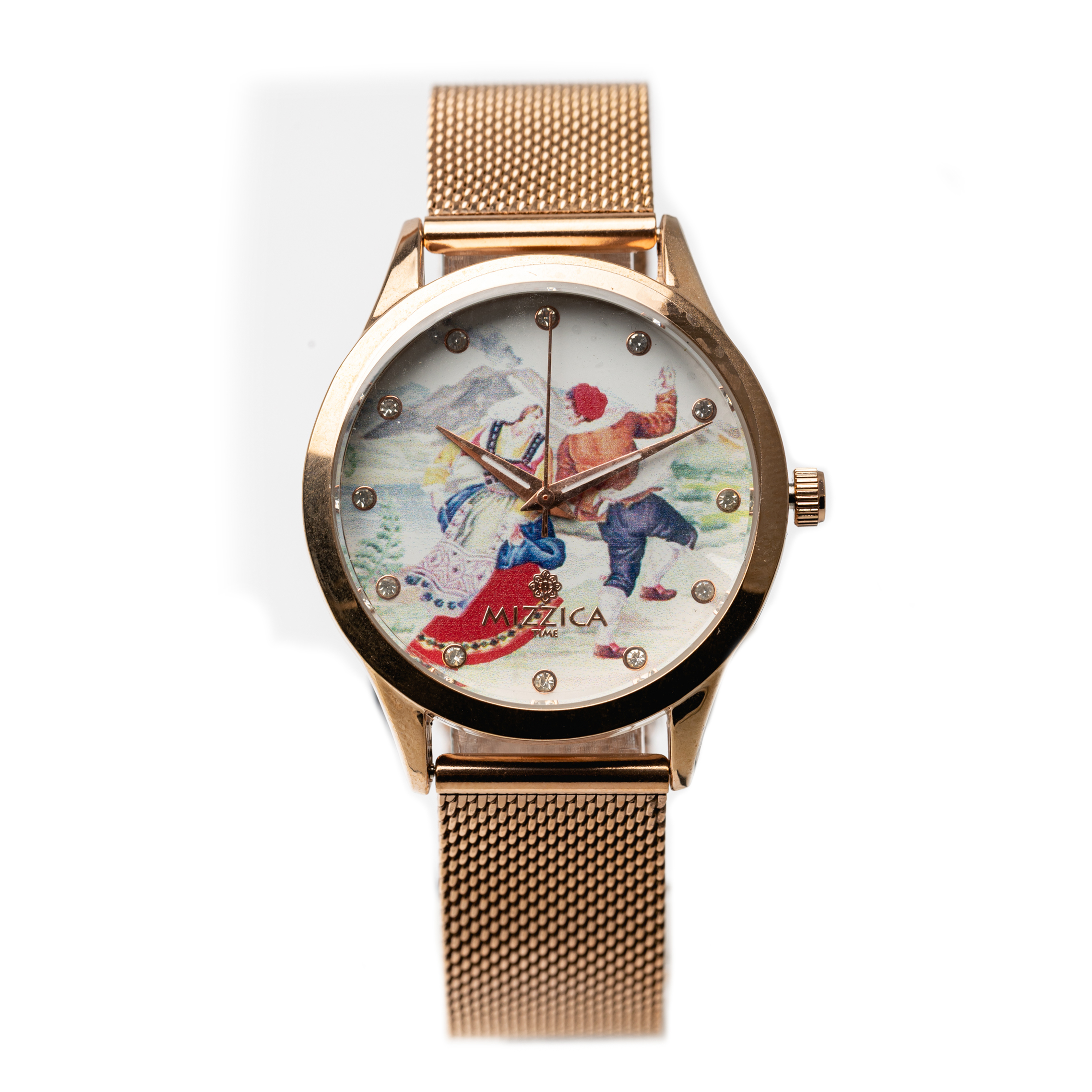 Ladies Steel Rose Gold Plated Designed Watch.