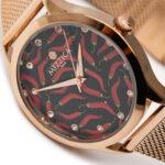 Ladies Steel Rose Gold Designed Watch.