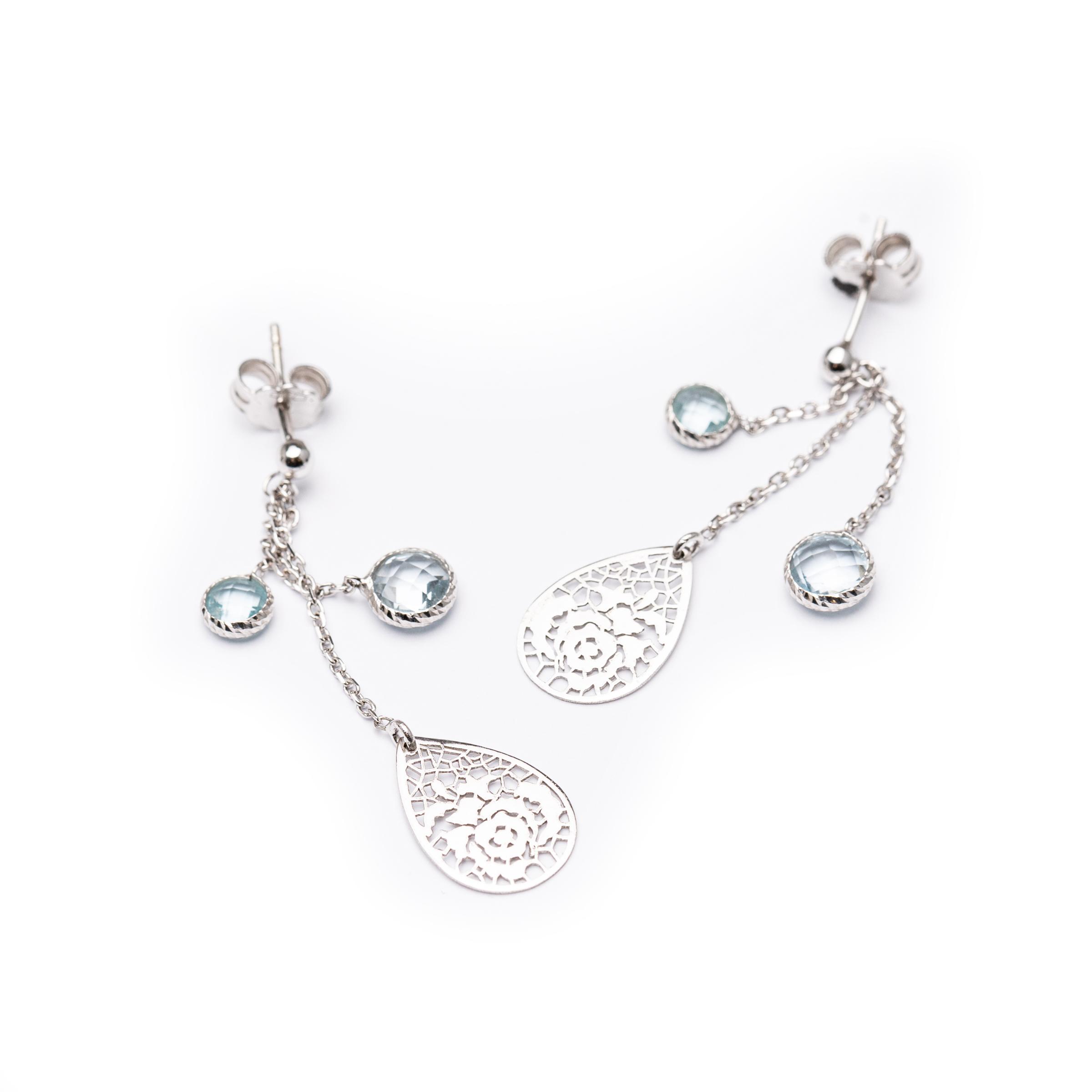 18kt White Gold Aquamarine Earrings.