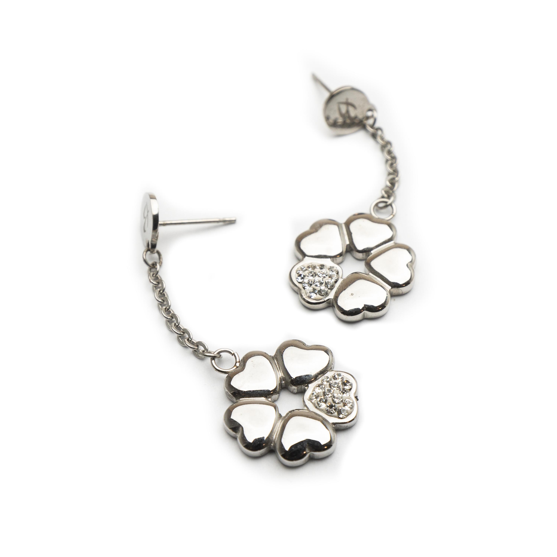 Steel Earrings Set With White Zirconia.